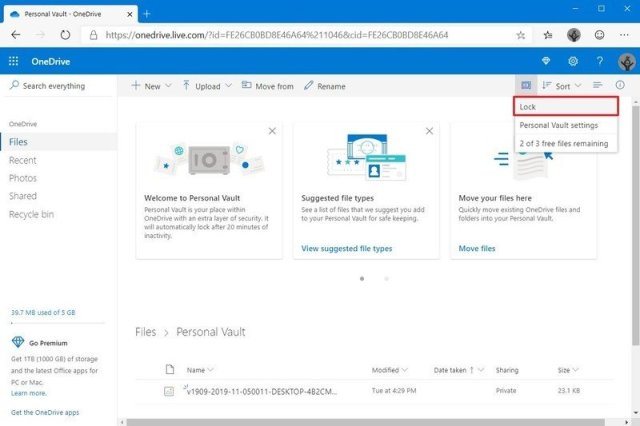 Lock OneDrive Personal Vault on the web