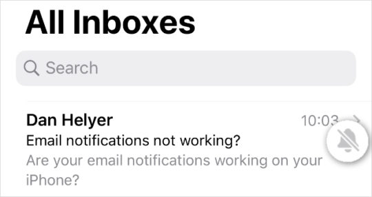 Muted email threads showing bell icon