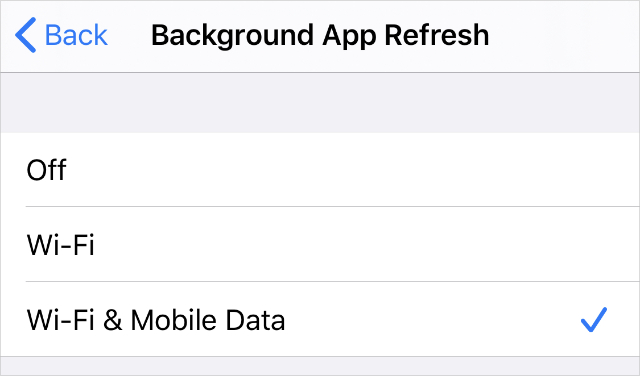 Background App Refresh settings with Wi-Fi & Mobile Data
