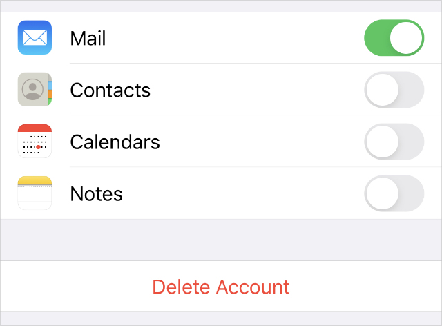 Delete Account option from Mail settings