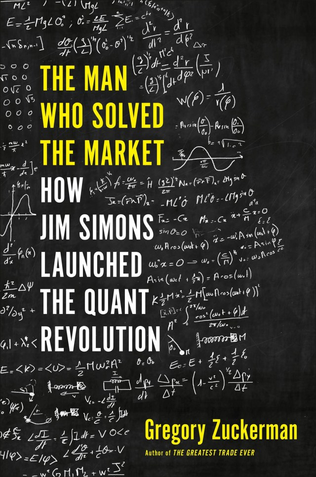 cover of outline of man head filled with tect written in chalk yellow title stating The man who solved the Market