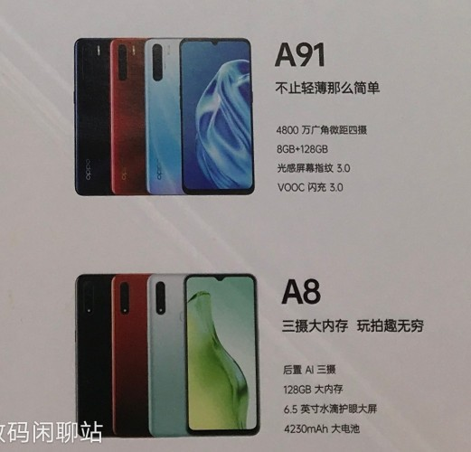Leaked poster revealing Oppo A91 and A8's design and specs