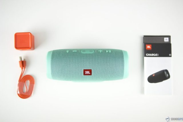 Pictured are the contents of the JBL Charge 3.