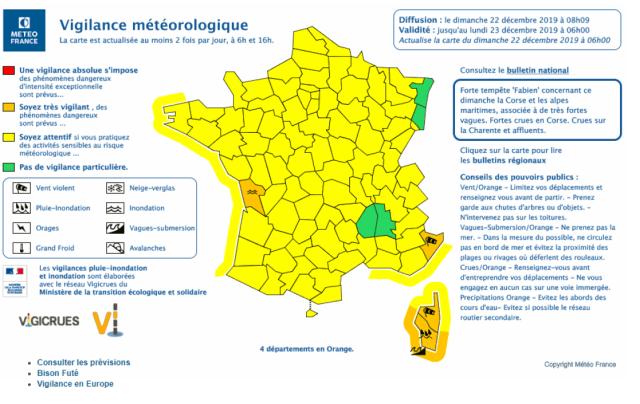 Bulletin de vigilance de Météo France du dimanche 22 décembre 2019 à 8 heures.
