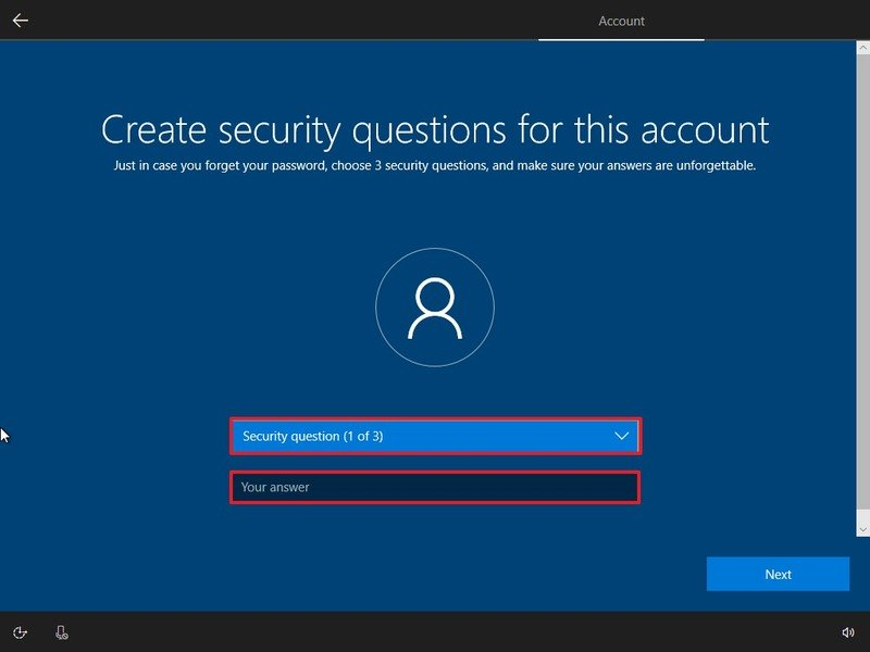 Local account security question during Windows 10 Home setup