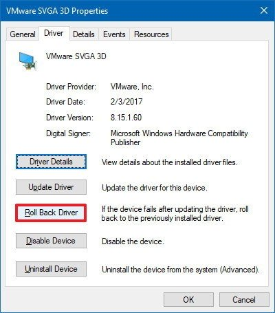 Device Manager driver rollback option