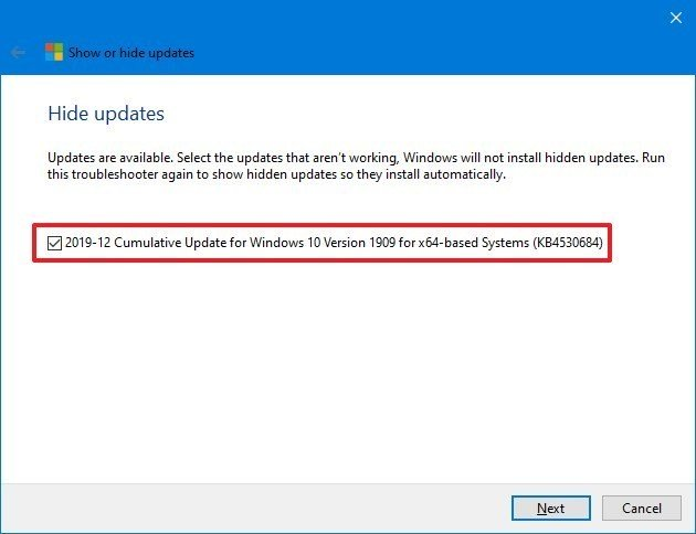 Select Windows Update release to hide