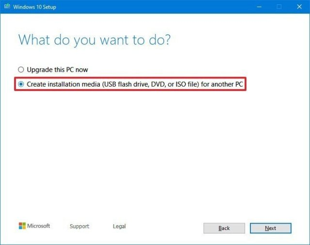 Create boot media option
