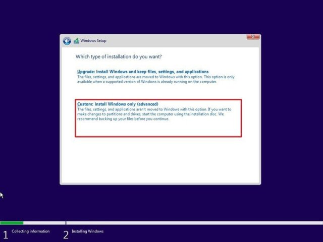 Windows 10 setup custom install option