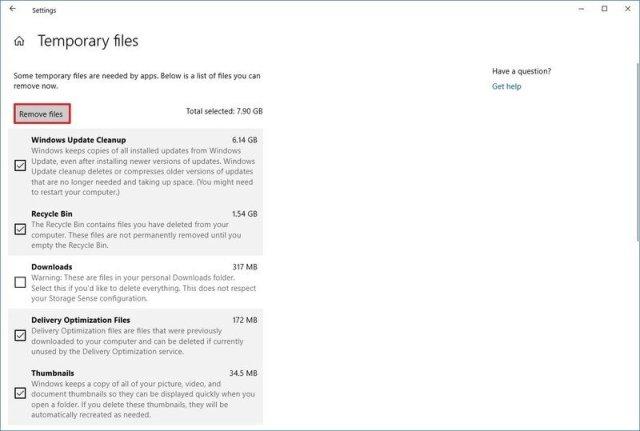 Windows 10 Temporary files settings