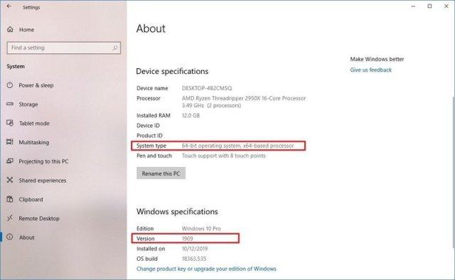 Windows 10 version information