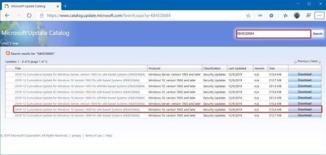 Microsoft Update Catalog page