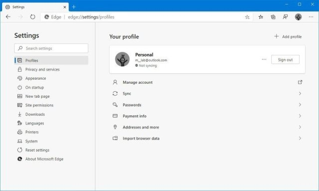 Microsoft Edge Chromium profiles settings