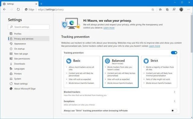 Microsoft Edge Chromium tracking prevention