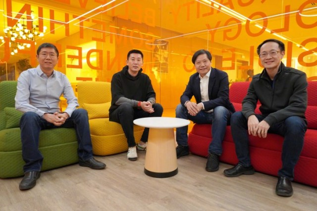 Chang Cheng, second left, sitting alongside De Liu, Lei Jun, Lin Bin, co-founders of Xiaomi