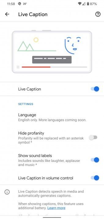 Live Caption on the Google Pixel 4 XL