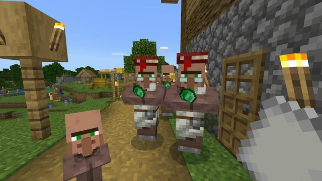 Villagers showing me their emeralds