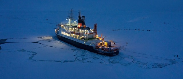An icebreaker ship on ice