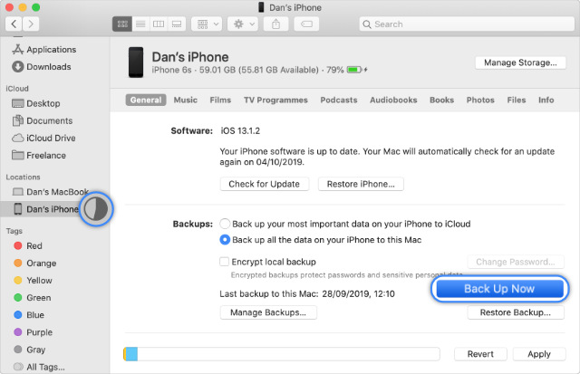 Back Up Now and iPhone backup progress in Finder in macOS Catalina