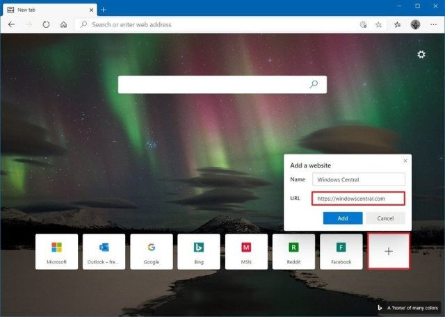 Microsoft Edge add quick link to new tab page