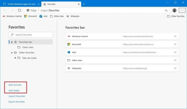 Microsoft Edge add new favorite and folder options