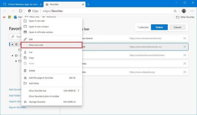 Microsoft Edge hide favorite label option