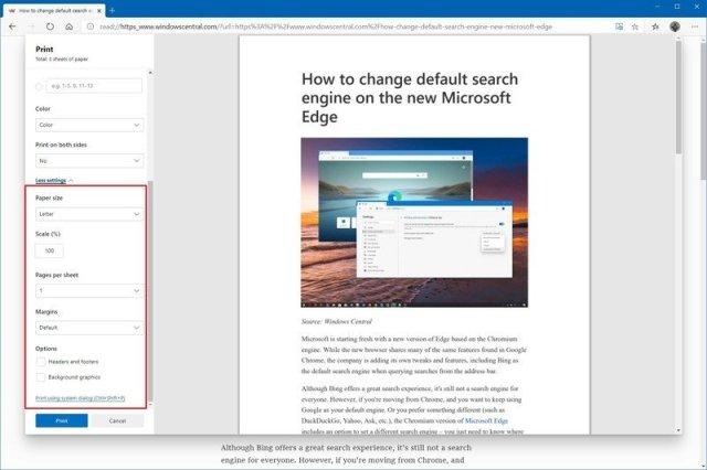 Microsoft Edge advanced print settings