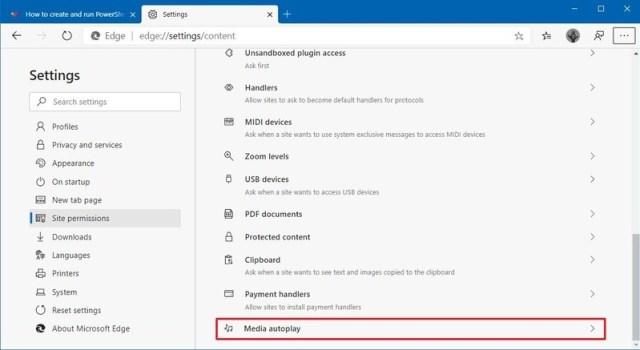 Microsoft Edge media autoplay option