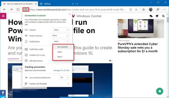 Microsoft Edge modify current site permissions