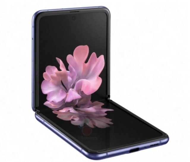 Official renders of the Samsung Galaxy Z Flip leak in black and purple, full specs surface