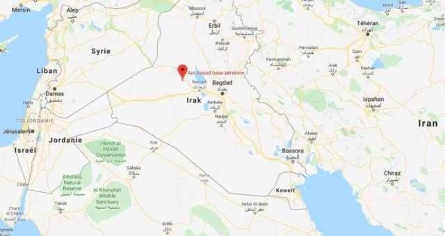 La base aérienned'Aïn al-Assad, à l'ouest de Bagdad, a été attaquée par des missiles dans la nuit du mardi au mercredi 8 janvier.