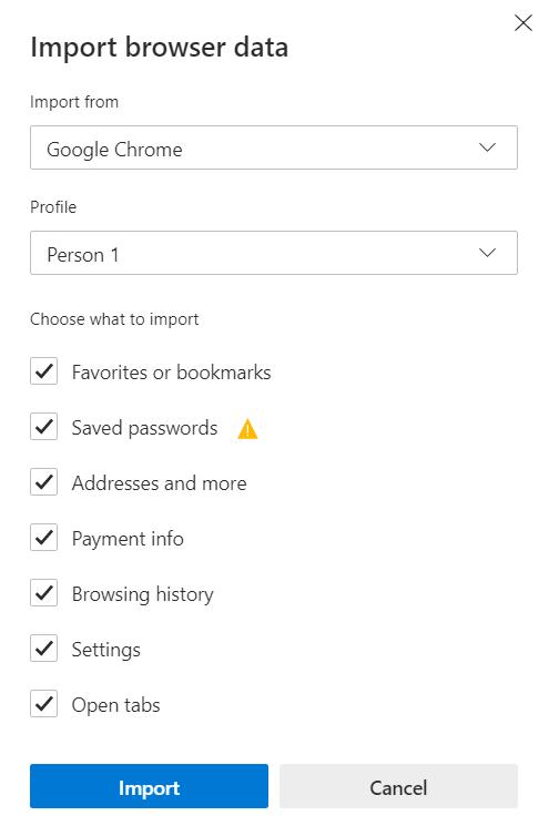 Microsoft Edge Import