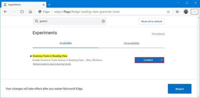 Microsoft Edge Chromium enable grammar tools