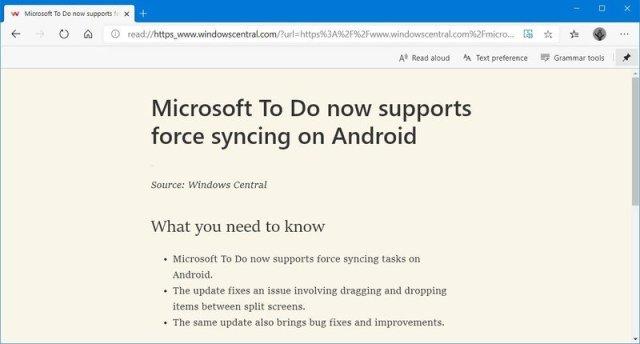 Microsoft Edge Chromium immersive reader button