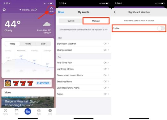 Manage Alerts The Weather Channel App