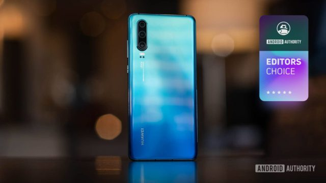 A picture of the Huawei P30 (rear) with an Android Authority Editor's Choice badge in the top-right corner.