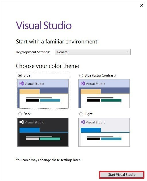 Visual Studio startup settings