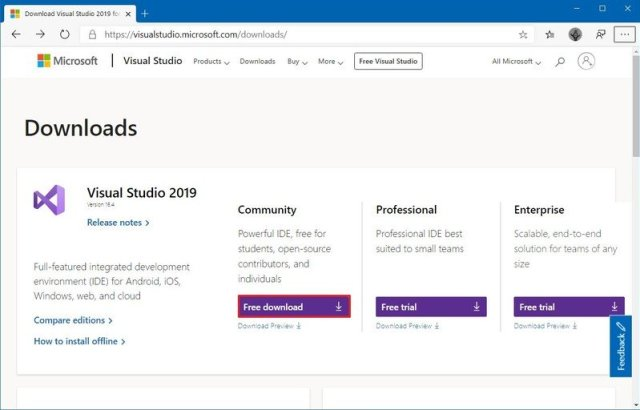 Visual Studio 2019 download page