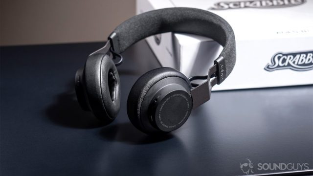 Jabra Move Wireless: The headphones propped up against a white Scrabble box.