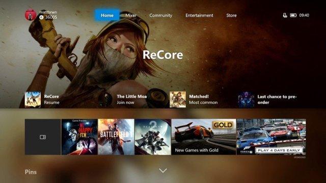 Xbox One Fluent Design Operating System