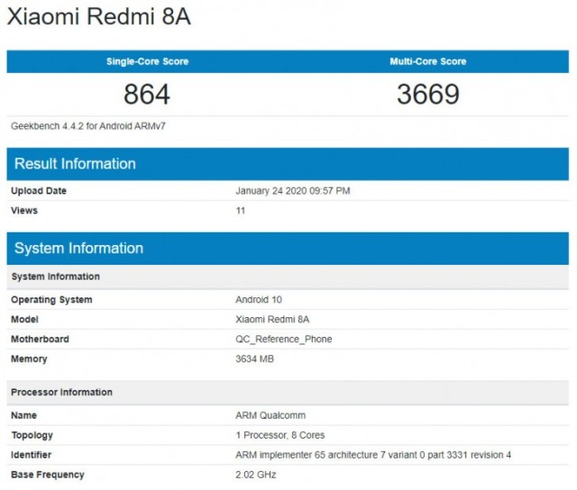 Xiaomi Redmi 8A running Android 10 spotted on Geekbench