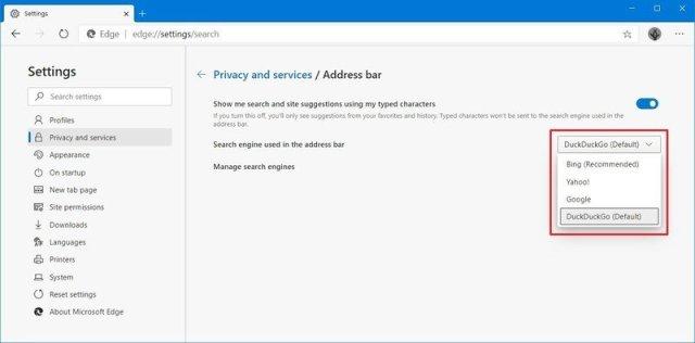 Microsoft Edge Chromium change search engine