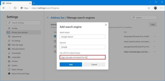 Microsoft Edge create custom search engine