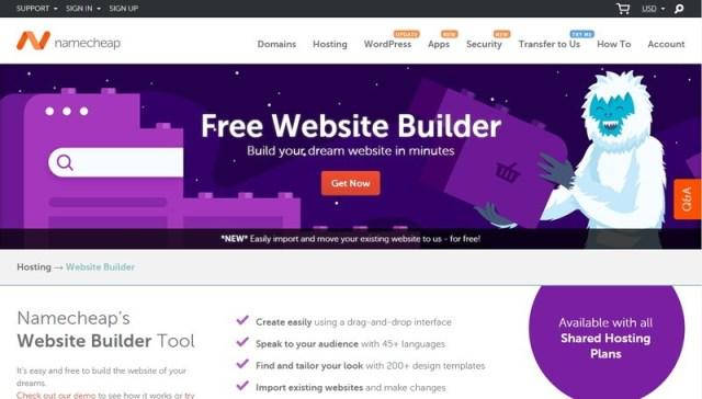 Namecheap website builders