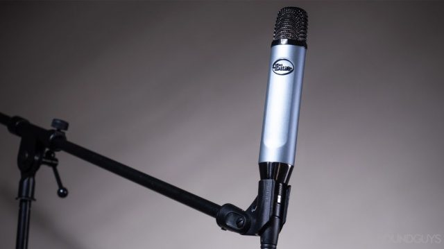 Blue Ember: The mic attached to a mic stand.