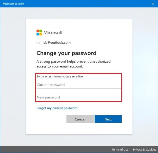 Windows 10 change Microsoft account password