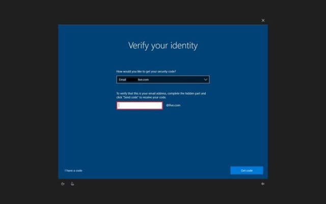 Verify Microsoft account option