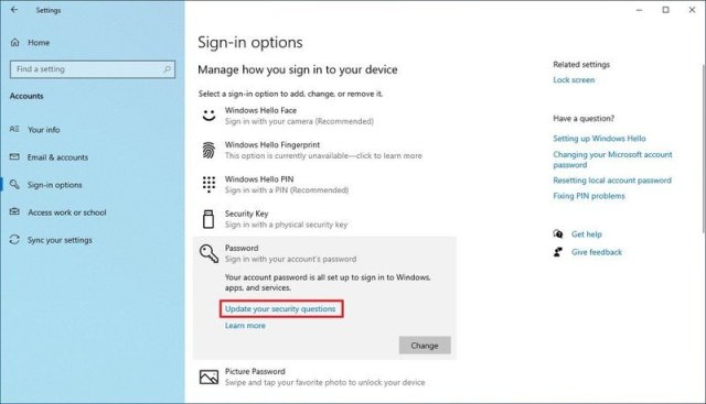 Windows 10 Update Security Questions option