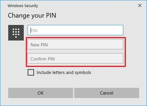 Windows 10 create new PIN