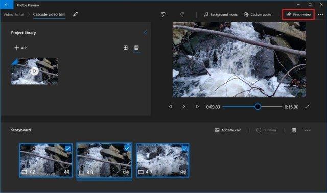 Photos finish video trim option